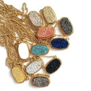 Drusy Stone Necklace Gold Oval KS Inspired